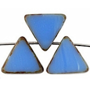 12mm Blue Picasso Polished Triangle Beads [20]
