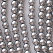 4mm Silver-Colored Round Glass Pearls [118+]