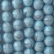 6mm Baby Blue Swirl Matte Round Beads [50]