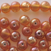 6x7mm Topaz/Gold Luster Round Beads [50] (see Defects)