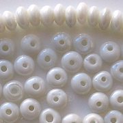 4x7mm White Luster Rondelle Beads [100] (see Defects)