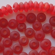 4x7mm Ruby Red Matte Rondelle Beads [100]