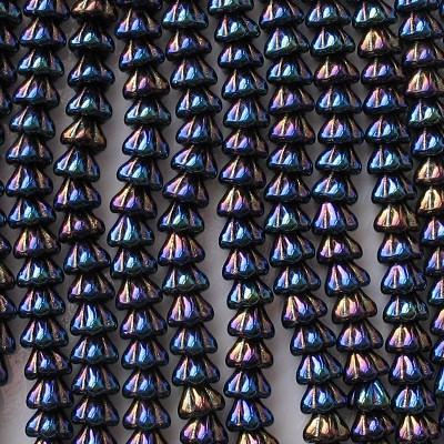 6x8mm Dark Blue Iris Bell Flower Beads [50]