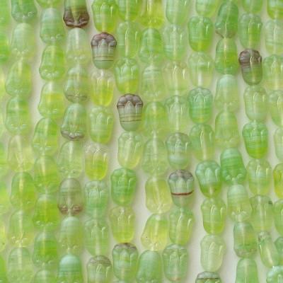 12mm Lime Swirl Matte Tulip Beads [50]