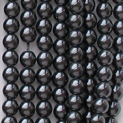 4mm Black Round Glass Pearls [118+]