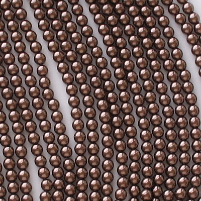 4mm Dark Bronze Round Glass Pearls [118+]