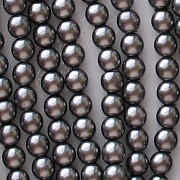 4mm Hematite-Colored Round Glass Pearls [118+]