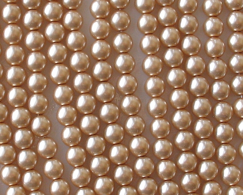 6mm Light Caramel Round Glass Pearls [50]