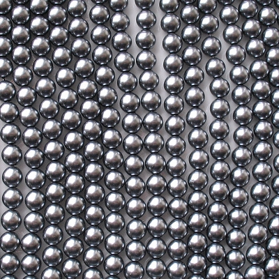 6mm Hematite-Colored Round Glass Pearls [50]