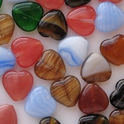 10mm Mixed Flat Heart Beads [50]