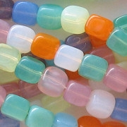 7x8mm Mixed Opalescent Cube Beads [50]