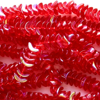 10mm Ruby Red AB 'Angel Wing' Beads [50]