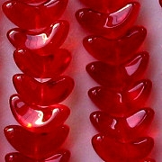 15mm Siam Ruby 'Angel Wing' Beads [50]