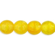 6mm Milky Yellow Swirl Round Beads [50] (see Comments)