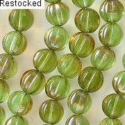 8mm Chrysolite Celsian Fluted Beads [50] (see Comments)