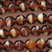 8mm Dark Topaz/Cream Beads [50]