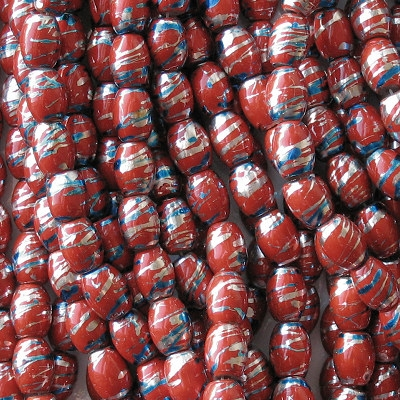 11mm Red Striped Barrel Beads [25]