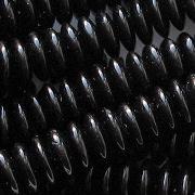 3x10mm Jet Black Rondelle Beads [50]