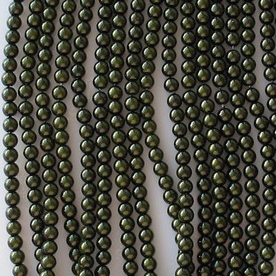 4mm Dark Olive Round Glass Pearls [118+]