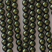 4mm Dark Olive Round Glass Pearls [118+]