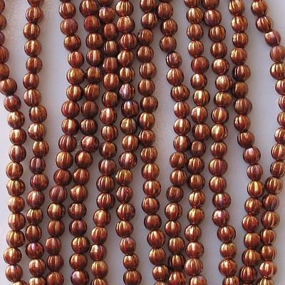 5mm Reddish-Bronze Iris Fluted Beads [50]