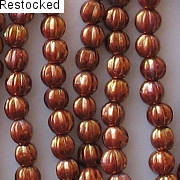 5mm Reddish-Bronze Iris Fluted Beads [50]