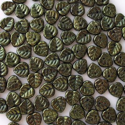 10mm Metallic Green Leaf Beads [50]