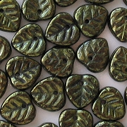 10mm Metallic Green Leaf Beads [50]