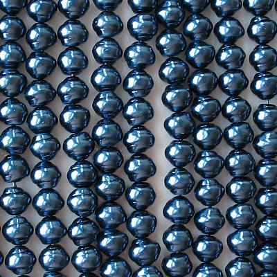 8x9mm Navy Blue Snail-Shaped Glass Pearls [50]