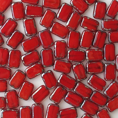 12mm Milky Red Picasso Polished Rectangle Beads [20]