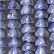 6x8mm Blue-Striped Bell Flower Beads [50]