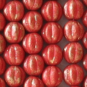 8mm Opaque Red Gilt Fluted Beads [25]