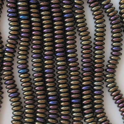 2x6mm Brown Iris Rondelle Beads [50]