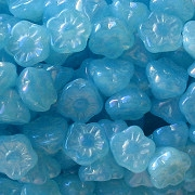 7mm Light Aqua Opalescent Luster Flower Button Beads [50]