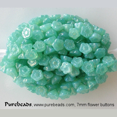 7mm Light Teal Opalescent Luster Flower Button Beads [50]