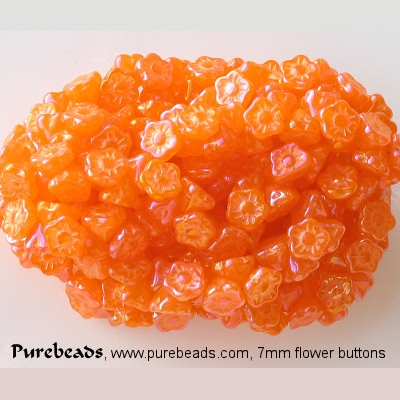 7mm Orange Opalescent Luster Flower Button Beads [50]