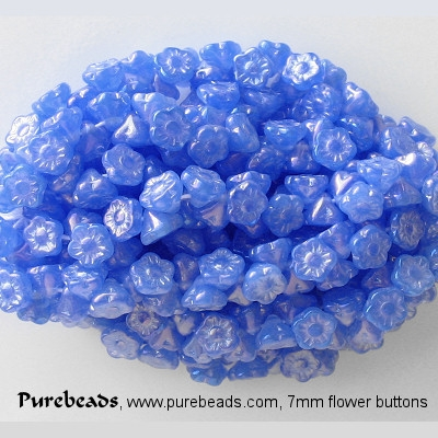 7mm Blue Opalescent Luster Flower Button Beads [50]