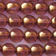 8mm Pink/Bronze 3-Cut Beads [25]