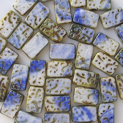 18mm White/Blue Polished Patterned Rectangle Beads [3]