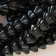 6x8mm Black Bell Flower Beads [50]