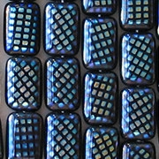 12mm Navy Blue Peacock Rectangle Beads [25]