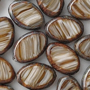 16mm Brown-Striped Picasso Polished Oval Beads [10]