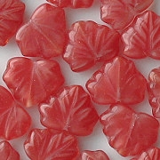 10mm Red Satin Maple Leaf Beads [20]