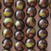 6mm Brown/Green Round Beads [50]