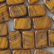 12mm Orange Swirl Picasso Polished Rectangle Beads [10]