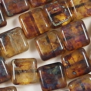 10mm Topaz Picasso Square Beads [20]