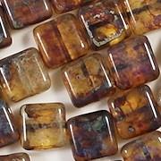 10mm Topaz Picasso Square Beads [20]