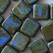 10mm Blue/Olive Picasso Polished Square Beads [10]