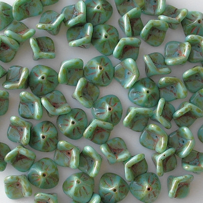 8x12mm Turquoise Picasso 3-Petal Flower Beads [10]