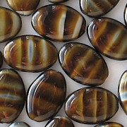 16mm Brown Tiger Flat Oval Beads [20]